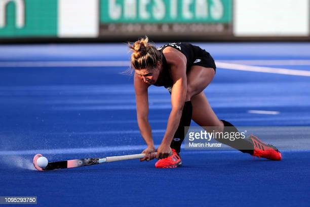 Rose Keddell of New Zealand controls the ball during the Women's FIH Field Hockey Pro League match between New Zealand and Great Britain at on Nga...