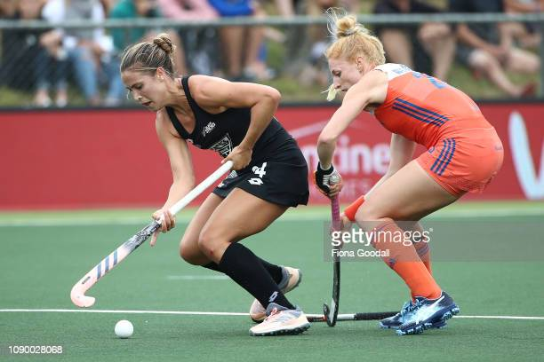 Rose Keddell of New Zealand feels the pressure during the Women's FIH Field Hockey Pro League match between New Zealand and the Netherlands at North...