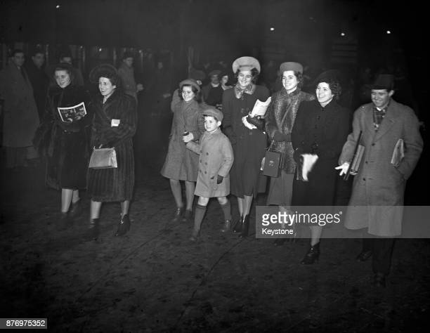Rose Kennedy at Victoria Station in London with her children 22nd December 1938 They are travelling to St Moritz for Christmas