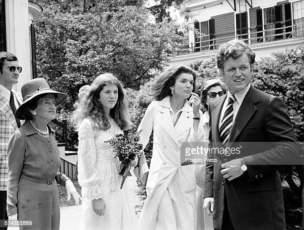 Rose Kennedy Caroline Kennedy Jacqueline Kennedy Onassis and Ted Kennedy attends Caroline Kennedys Graduation from Concord Academy on June 5 1975 in...