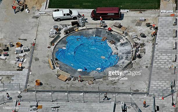 Rose Kennedy Greenway a fountain under construction near Milk Street