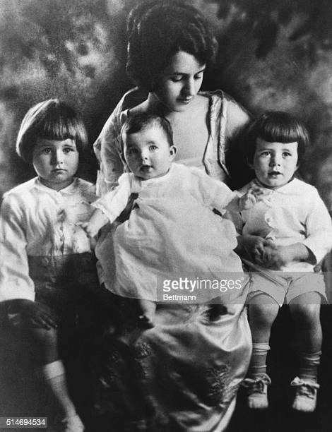 Rose Kennedy sits with three of her young children: Joseph, Jr., Rosemary, and Jack.