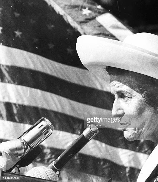 Rose Kennedy speaks to a crowd of people in Chapel Hill, trying to raise money for a Kennedy Memorial at Harvard. Emotion overcomes her as she speaks...