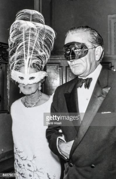 Rose Kennedy with unidentified person at Truman Capote BW Ball on November 28, 1966 in New York, New York.