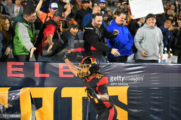 Rose Larry interacts with fans after the LA Wildcats scored touchdown against the Tampa Bay Vipers at Dignity Health Sports Park during an XFL game...