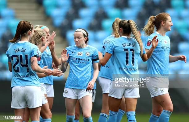 Rose Lavelle of Manchester City celebrates scoring her sides sixth goal with team mates during the Vitality Women's FA Cup Fourth Round match between...