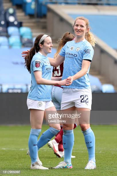 Rose Lavelle of Manchester City celebrates with teammate Sam Mewis after scoring their team's sixth goal during the Vitality Women's FA Cup Fourth...