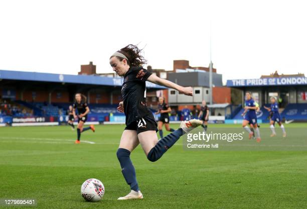 Rose Lavelle of Manchester City during the Barclays FA Women's Super League match between Chelsea Women and Manchester City Women at Kingsmeadow on...