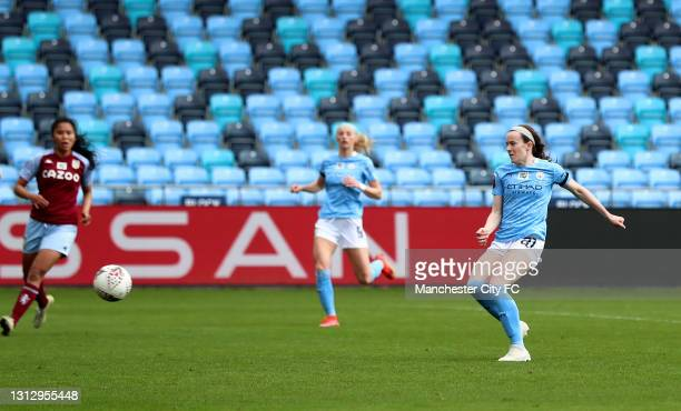 Rose Lavelle of Manchester City scores her sides sixth goal with team mates during the Vitality Women's FA Cup Fourth Round match between Manchester...