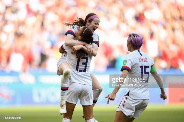 Rose Lavelle of the United States celebrates scoring with Alex Morgan and Megan Rapinoe during the 2019 FIFA Women's World Cup France final match...