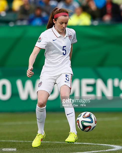 Rose Lavelle of the United States in action during their FIFA U20 Women's World Cup Canada 2014 Group B match against between Brazil and the United...