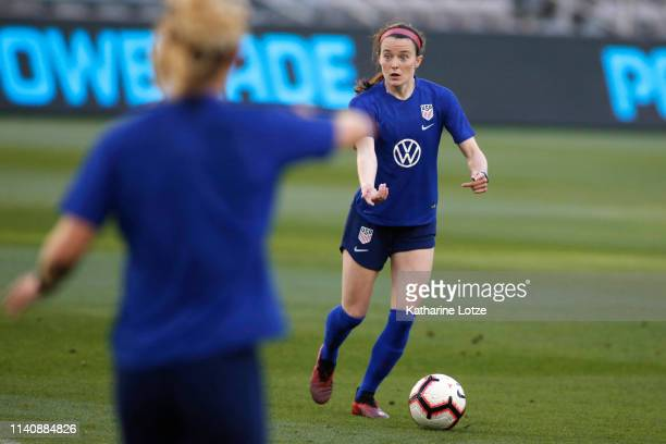 Rose LaVelle of the US Women's National Team looks for a pass during a training session at Banc of California Stadium on April 06 2019 in Los Angeles...
