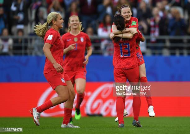 Rose Lavelle of the USA celebrates with teammate Alex Morgan after scoring her team's second goal during the 2019 FIFA Women's World Cup France group...