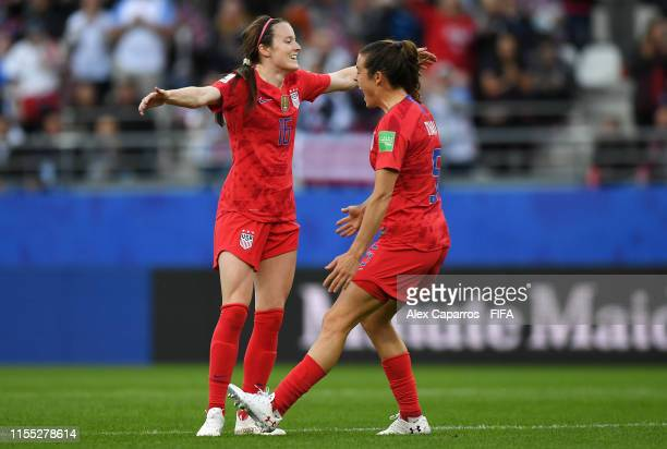 Rose Lavelle of the USA celebrates with teammate Lindsey Horan after scoring her team's second goal during the 2019 FIFA Women's World Cup France...