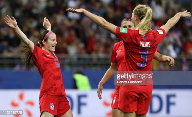Rose Lavelle of the USA celebrates with teammates after scoring her team's seventh goal during the 2019 FIFA Women's World Cup France group F match...