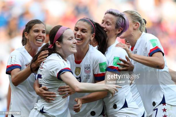 Rose Lavelle of the USA celebrates with teammates after scoring her team's second goal during the 2019 FIFA Women's World Cup France Final match...