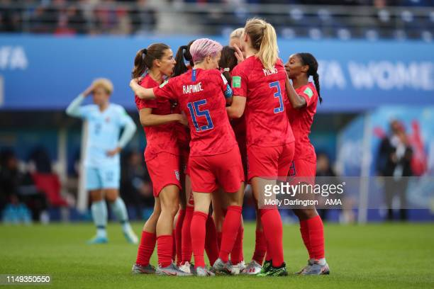 Rose Lavelle of USA celebrates with team mates after scoring a goal to make it 20 during the 2019 FIFA Women's World Cup France group F match between...