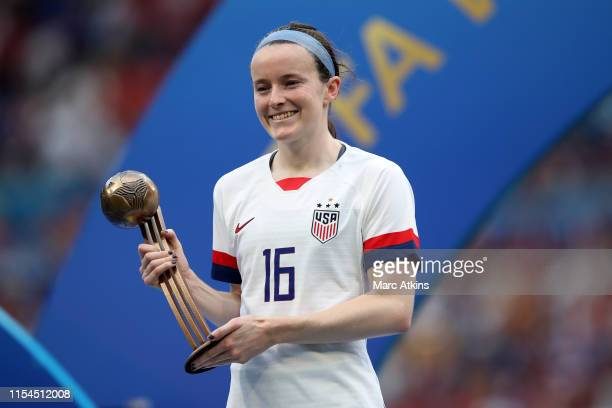Rose Lavelle of USA poses with her bronze ball award during the 2019 FIFA Women's World Cup France Final match between The United States of America...