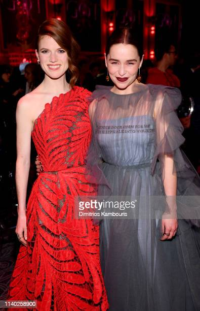 Rose Leslie and Emilia Clarke attend the Game Of Thrones Season 8 Premiere After Party on April 03 2019 in New York City