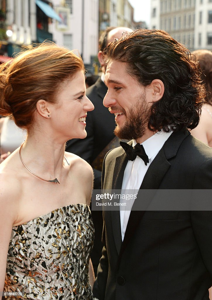 Rose Leslie (L) and Kit Harington arrive at The Olivier Awards with Mastercard at The Royal Opera House on April 3, 2016 in London, England.