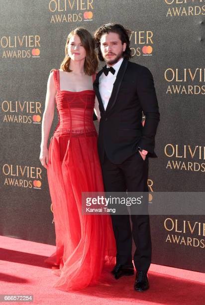 Rose Leslie and Kit Harington arrive for The Olivier Awards 2017 at the Royal Albert Hall on April 9 2017 in London England