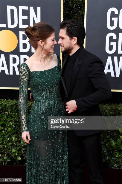 Rose Leslie and Kit Harington attend the 77th Annual Golden Globe Awards at The Beverly Hilton Hotel on January 05 2020 in Beverly Hills California