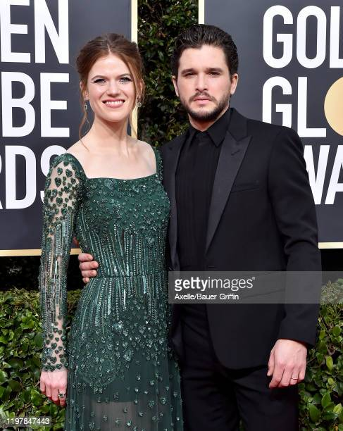 Rose Leslie and Kit Harington attend the 77th Annual Golden Globe Awards at The Beverly Hilton Hotel on January 05, 2020 in Beverly Hills, California.