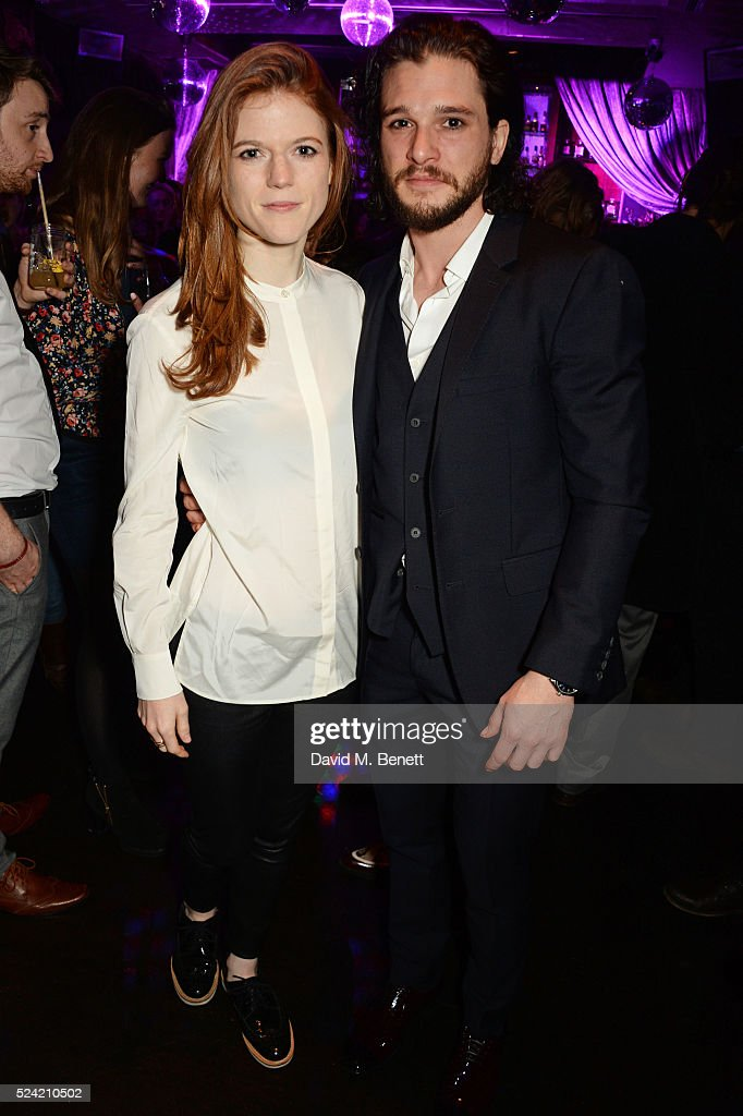 Rose Leslie (L) and Kit Harington attend the Gala Night performance of 'Doctor Faustus' at The Cuckoo Club on April 25, 2016 in London, England.