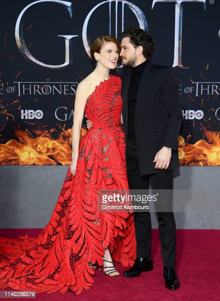 Rose Leslie and Kit Harington attend the Game Of Thrones Season 8 Premiere on April 03 2019 in New York City