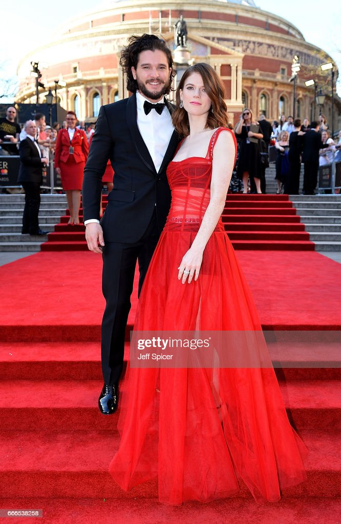 Rose Leslie and Kit Harington attend The Olivier Awards 2017 at Royal Albert Hall on April 9, 2017 in London, England.
