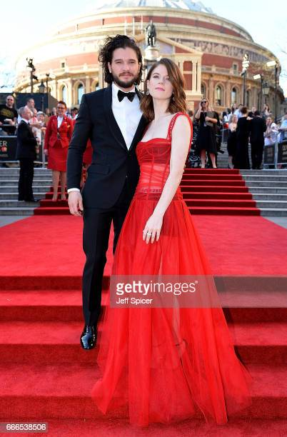 Rose Leslie and Kit Harington attend The Olivier Awards 2017 at Royal Albert Hall on April 9 2017 in London England