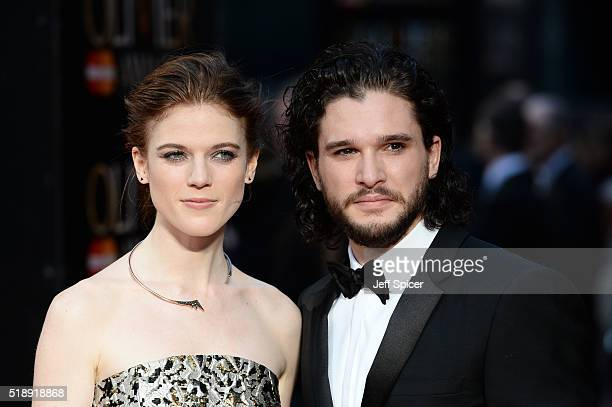 Rose Leslie and Kit Harington attend The Olivier Awards with Mastercard at The Royal Opera House on April 3 2016 in London England