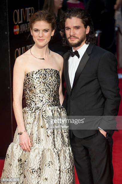 Rose Leslie and Kit Harington attend The Olivier Awards with Mastercard at The Royal Opera House on April 3 2016 in London EnglandPhoto by Julian...