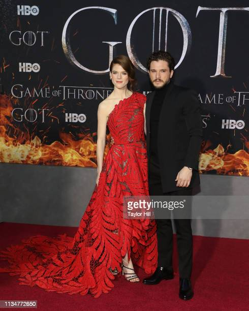 """Rose Leslie and Kit Harington attend the Season 8 premiere of """"Game of Thrones"""" at Radio City Music Hall on April 3, 2019 in New York City."""