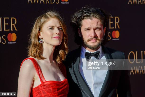 Rose Leslie and Kit Harington attends The Olivier Awards 2017 at Royal Albert Hall on April 9 2017 in London England