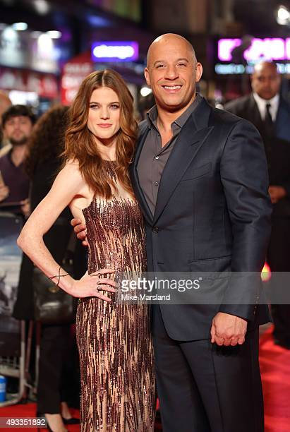 Rose Leslie and Vin Diesel attend the UK Premiere of 'The Last Witch Hunter' at Empire Leicester Square on October 19 2015 in London England