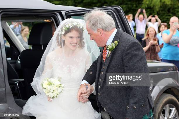 Land Rover is seen outside Rayne Church in Kirkton on Rayne venue for the wedding of Kit Harrington and Rose Leslie on June 23 2018 in Aberdeen...