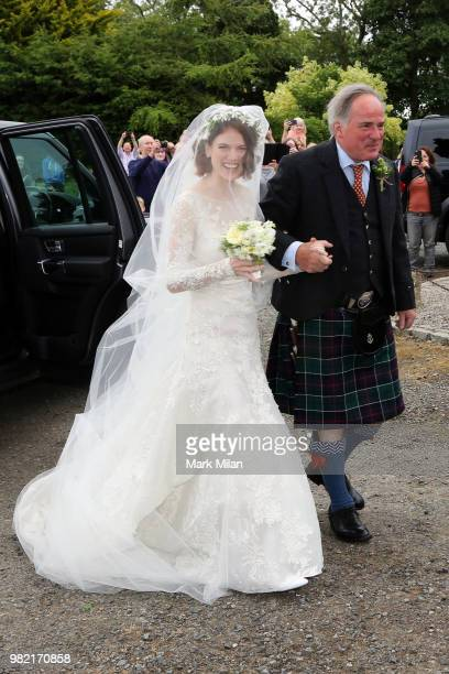 Rose Leslie arriving at Rayne Church in Kirkton on Rayne for the wedding of Kit Harrington and Rose Leslie on June 23 2018 in Aberdeen Scotland