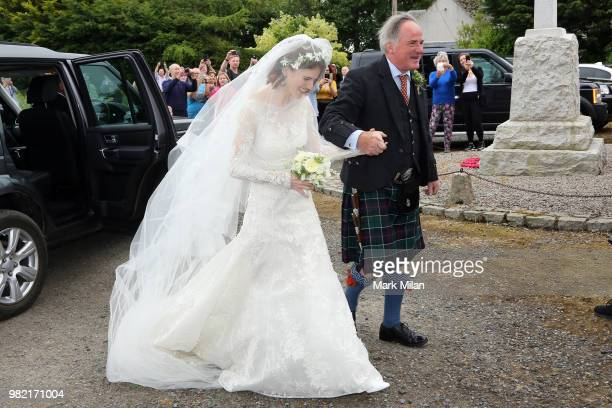Rose Leslie arriving at Rayne Church in Kirkton on Rayne for the wedding of Kit Harrington and Rose Leslie on June 23 2018 in Aberdeen Scotland