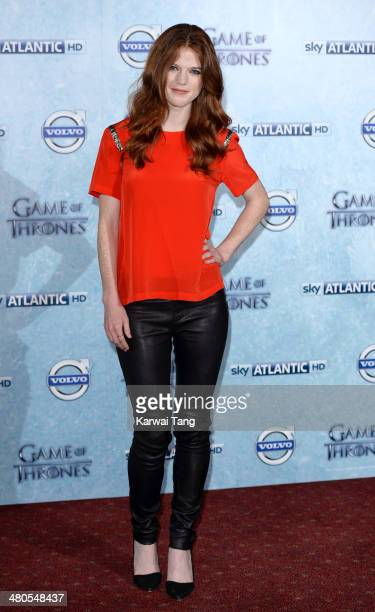 Rose Leslie attends the Season 4 premiere of 'Game of Thrones' at The Guildhall on March 25 2014 in London England