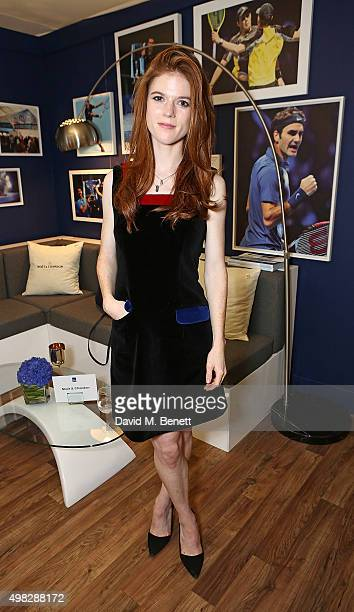 Rose Leslie celebrates with Moet Chandon whilst raising a toast to the winners of the 2015 Barclays ATP World Tour Finals at The O2 Arena on November...