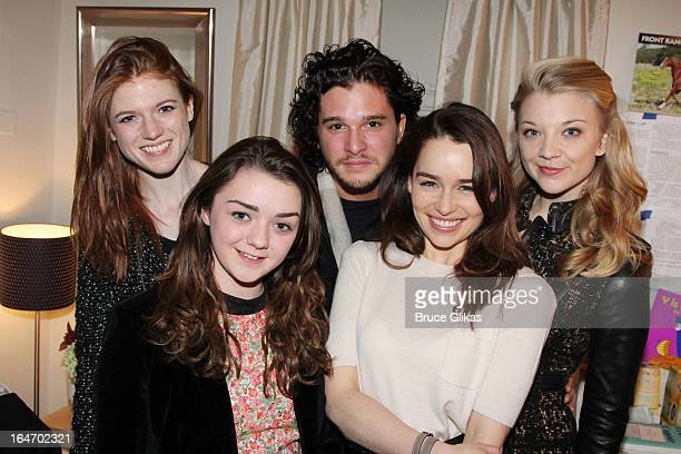 Rose Leslie Maisie Williams Kit Harington Emilia Clarke and Natalie Dormer pose backstage at the play 'Breakfast at Tiffanys' on Broadway at The Cort...