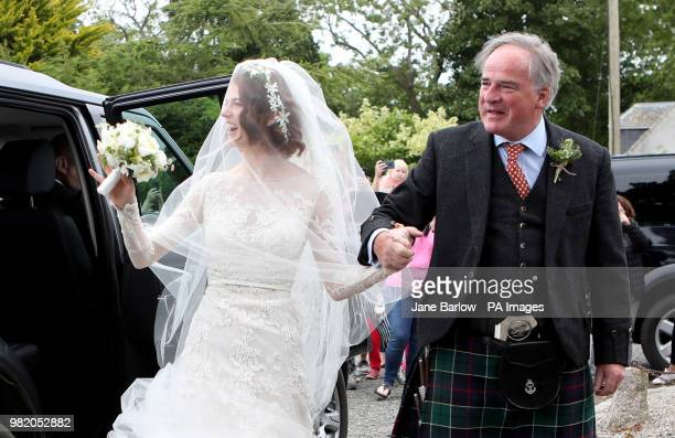 Rose Leslie with her father Sebastian Leslie arrive at Rayne Church Kirkton of Rayne in Aberdeenshire for her wedding ceremony with Game Of Thrones...