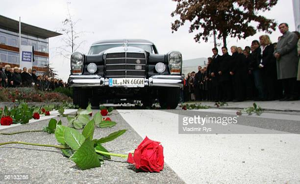 A rose lies in front of the funeral procession carrying the body of Aenne Burda as it drives through the Medienpark of Burda publishing house after...