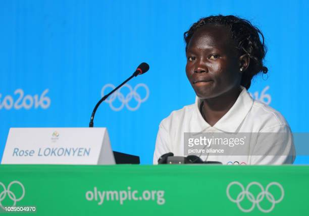 Rose Lokonyen from South Sudan of the Olympic Refugee Team for Athletics, attends a news conference at the Main Press Centre at Olympic Parc Barra...