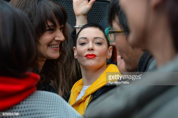 Rose McGowan and Asia Argento are seen on March 8 2018 in Rome Italy