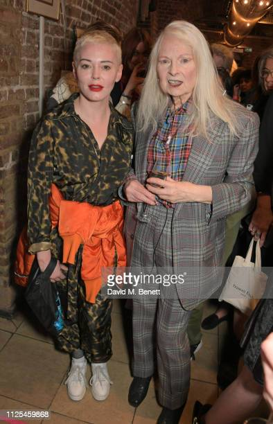 Rose McGowan and Dame Vivienne Westwood pose backstage at the Vivienne Westwood show during London Fashion Week February 2019 on February 17 2019 in...