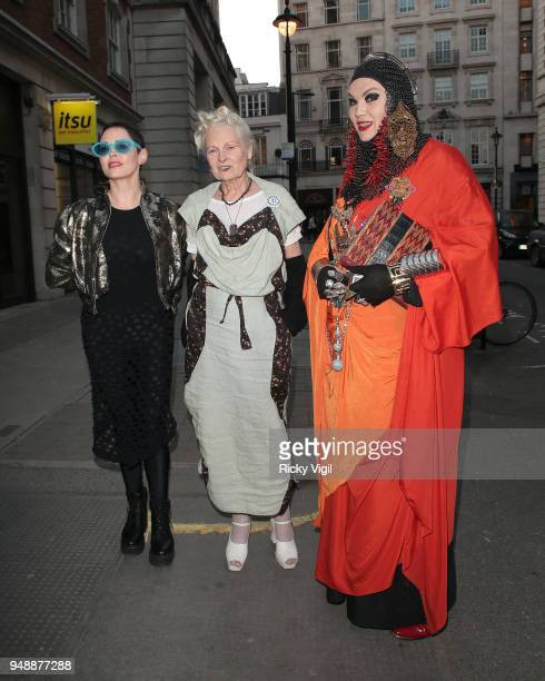 Rose McGowan and Dame Vivienne Westwood seen attending Joseph Corre Ash From Chaos at Lazinc on April 19 2018 in London England