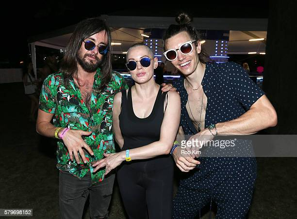 Rose McGowan and Ian Mellencamp pose for a photo at the VIP area on day three of The Panorama Music Festival at Randall's Island on July 24 2016 in...