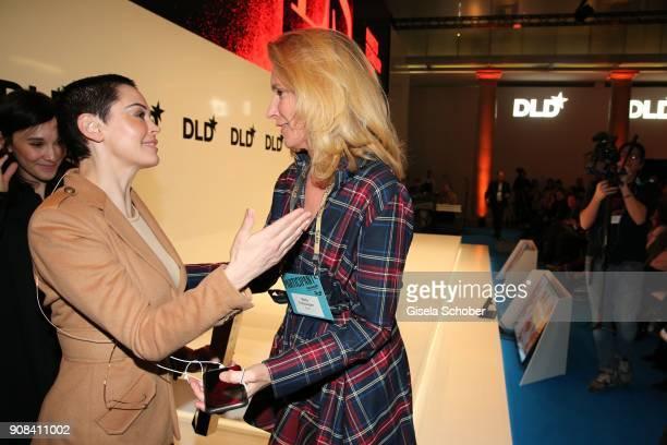 Rose McGowan and Maria Furtwaengler during the DLD Impact Award the DLD Munich 2018 at Alte Bayerische Staatsbank on January 21 2018 in Munich...
